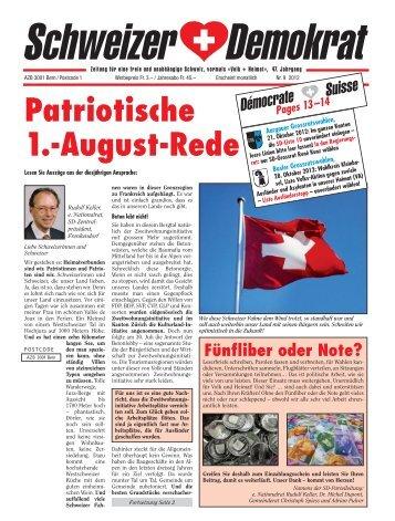 Patriotische 1.-August-Rede - Schweizer Demokraten SD