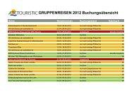 GRUPPENREISEN 2012 Buchungs