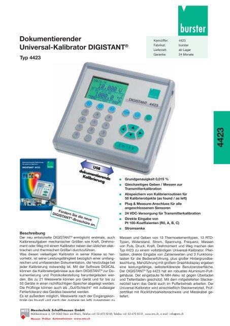 MTS-Datenblatt Digistant 4423, PDF-Datei, 784 KB - Industrie-Schweiz