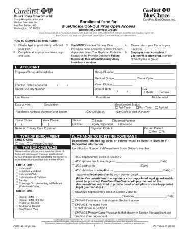 Carefirst BlueChoice Enrollment Form