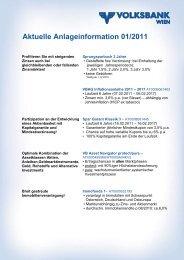 Aktuelle Anlageinformation 01/2011 - Volksbank Wien AG