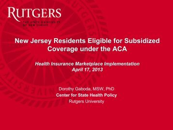Download Publication - Center for State Health Policy, Rutgers ...