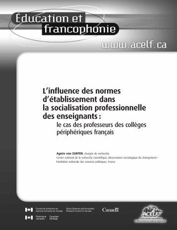L'influence des normes d'établissement dans la socialisation ... - acelf