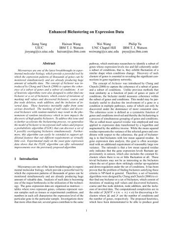 BICLUSTERING OF EXPRESSION DATA EBOOK