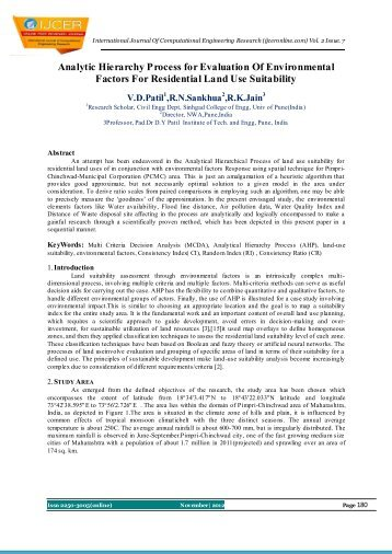 Analytic Hierarchy Process for Evaluation Of Environmental ... - ijcer