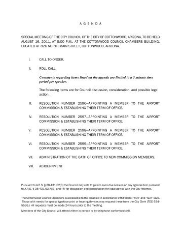 agenda special meeting of the city council of the city of cottonwood ...