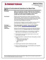 Epidural Corticosteroid Injection for Back Pain - Presbyterian ...