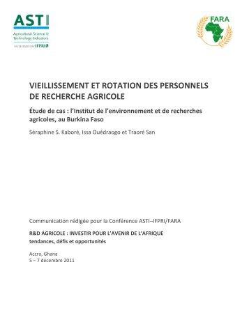 vieillissement et rotation des personnels de recherche ... - ASTI - cgiar