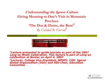 Understanding the Igorot Culture - Ethnic Filipinos, Indigenous ...