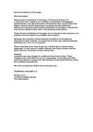 General Conditions of Carriage Dear passenger ... - Transavia.com