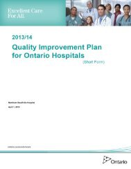 2013/2014 Quality Improvement Plan - Markham Stouffville Hospital