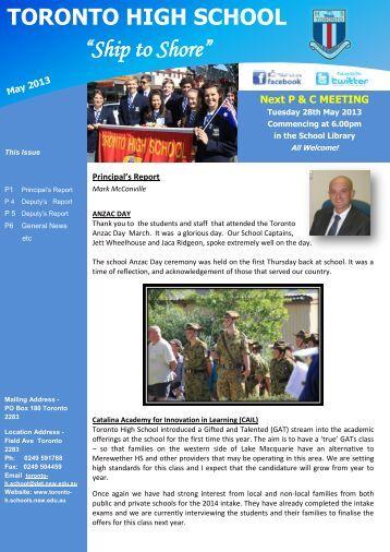 23 May 2013 Newsletter Week 21 [pdf, 4 MB] - Toronto High School