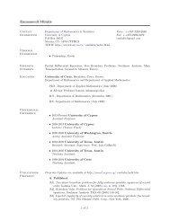 Short CV - University of Cyprus