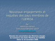 Nouveaux engagements et requêtes des pays membres de l ... - ILEAP