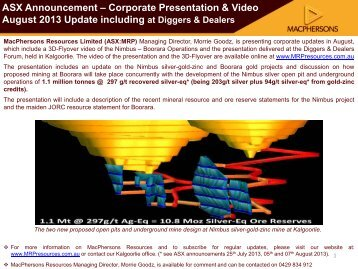 MacPhersons Corporate Presentation & Video August 2013 Update ...