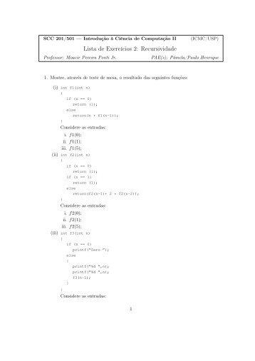 Lista de Exercícios 2: Recursividade - USP