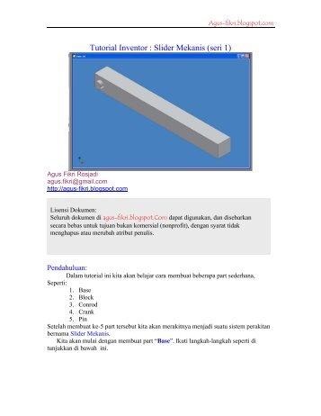 Tutorial Inventor : Slider Mekanis (seri 1)