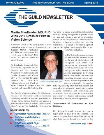 Martin Friedlander, MD, PhD Wins 2010 Bressler Prize in Vision ...