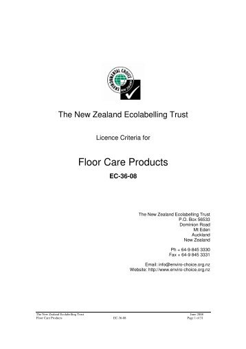 Floor Care Products (EC-36-08) - Environmental Choice New Zealand