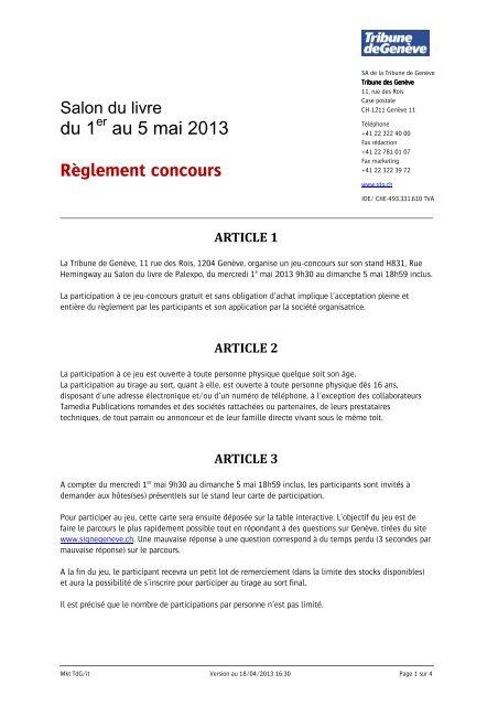 du 1 au 5 mai 2013 Règlement concours - Tribune de Genève