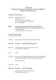 Programme Workshop Commemorating Writers in Europe 1800 ...
