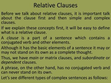 Relative Clause - Home Pages of People@DU