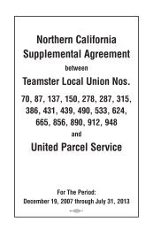Northern California Supplemental Agreement - Teamsters for a ...
