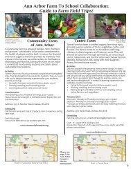 Farm Field Trips Guide - Ann Arbor Public Schools