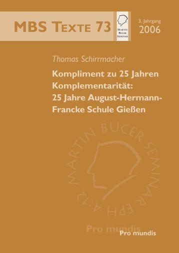 Kompliment zu 25 Jahren Komplementarität - Martin Bucer Seminar