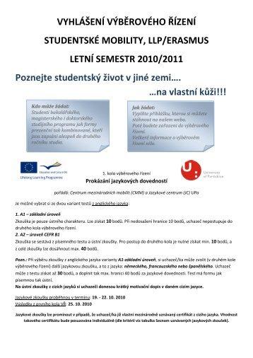 Výběrové řízení - studentské mobility a pracovní stáž LS 2010/2011