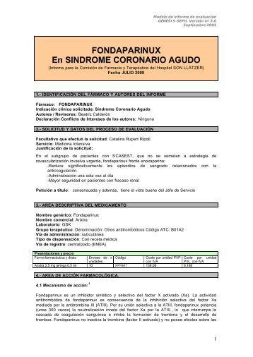 FONDAPARINUX En SINDROME CORONARIO AGUDO - Sociedad ...