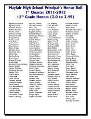 Mayfair High School Principal's Honor Roll 1st Quarter 2010-2011