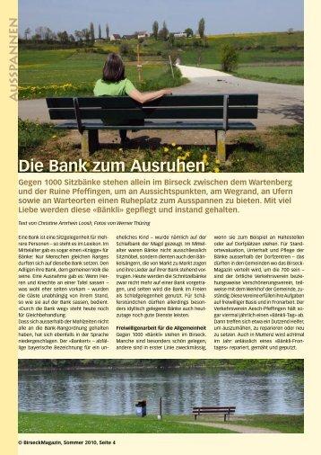 Die Bank zum Ausruhen - Birseck Magazin