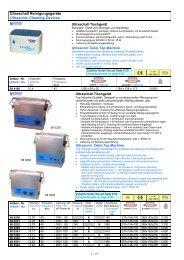 Ultraschall Reinigungsgeräte Ultrasonic Cleaning Devices