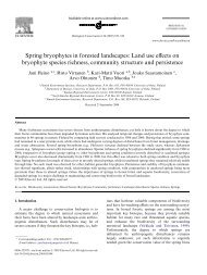 Spring bryophytes in forested landscapes: Land use effects on ...