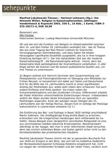 Manfred Jakubowski-Tiessen / Hartmut Lehmann (Hg ... - Sehepunkte