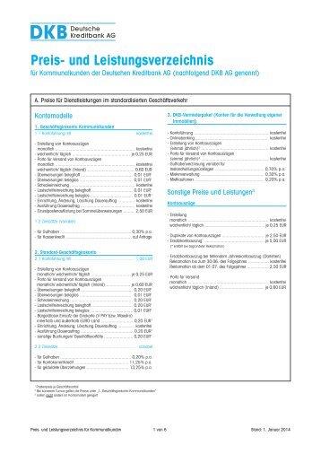 Preis- und Leistungsverzeichnis für Kommunalkunden - DKB