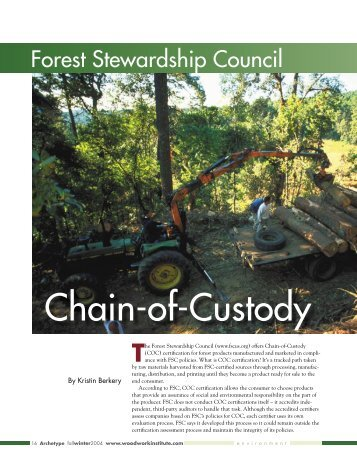 Forest Stewardship Council Chain-of-Custody - Woodwork Institute