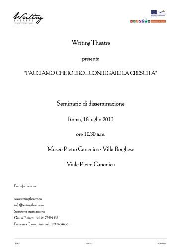 scarica il programma - WRITING THEATRE at school