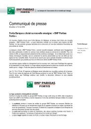 Fortis Banque a choisi sa nouvelle enseigne - BNP Paribas