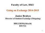 Briefing on Exchange - Faculty of Law, The University of Hong Kong