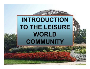 New Residents Slide Show - Leisure World of Maryland