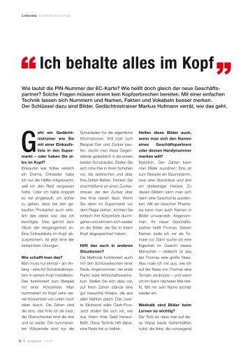 """Ich behalte alles im Kopf """" - Markus Hofmann"""