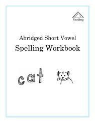 Short Vowel Workbook - Sound City Reading