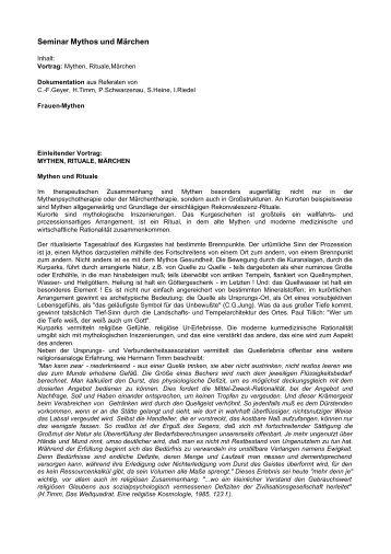 Seminar Mythos und Märchen - Professor Dr. Horst Seibert