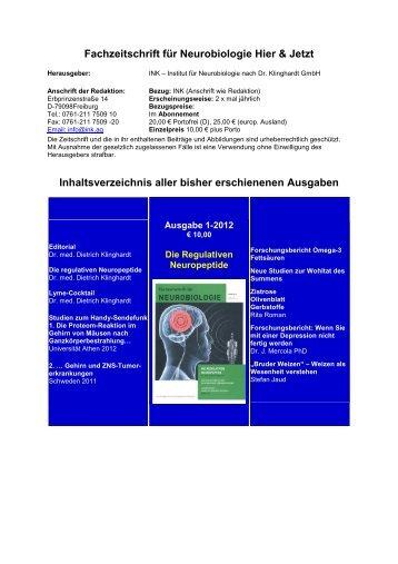 Fachzeitschrift für Neurobiologie Hier & Jetzt Inhaltsverzeichnis aller ...