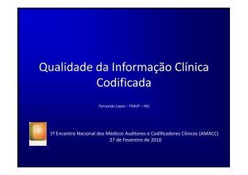 Primeiro-Encontro AMACCx - Portal da Codificação Clínica e dos GDH