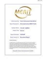 Recruitment Report - Future Achievement International