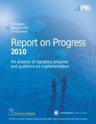 PRI Report on Progress 2010 - Principles for Responsible Investment