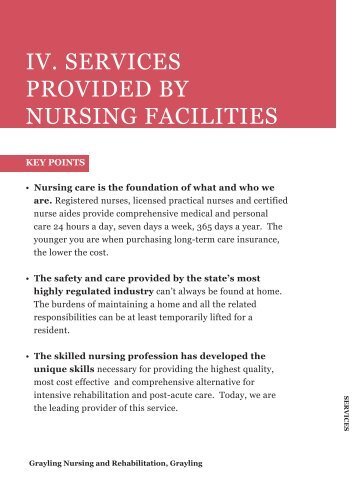 iv. services provided by nursing facilities - Health Care Association ...